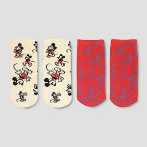Disney Mickey Mouse Ivory/Red Print Junk Food Boys'  2pk Socks Small (5.5-8.5)