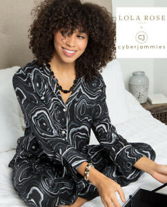 Cyberjammies Pyjama Set Black Agate Gemstone Print Long Sleeve Black