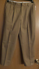 "LANDS END TRADITIONAL FIT MEN'S DK TAN KHAKIS  35 W X 30"" PANTS PLEATED"