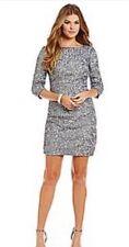 NWT   Aidan Mattox Sequin    Silver Dress  10 $220