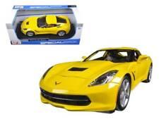 Chevrolet Corvette Stingray Modelo Diecast Escala 1:18 Amarillo Coche De Juguete En Miniatura