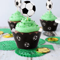24PCS Soccer Football Cake Cupcake Toppers & Wrappers Kids Birthday Party Decor