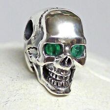 dr. skull Ketten Anhänger 925Silber echt Smaragd Augen Totenkopf Biker Gothic 04