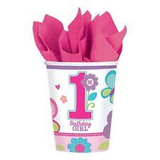 8pk Sweet Girl 1st Birthday Cups 266ml Flowers Baby Party Tableware