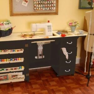 ARROW NORMA JEAN SEWING MACHINE CABINET WITH AIR LIFT-BLACK NO QUILT LEAF