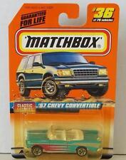 MATCHBOX 57 CHEVY CONVERTIBLE #36 BLUE MINT ON CARD DIECAST 1998