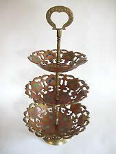 Älterer Orientalischer Messing Bronze Schalenständer 3 teilig Orient 40 cm hoch