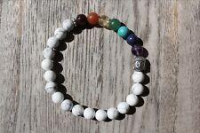 Howlite with 7 Chakra  Gemstones Mala Bead Bracelet