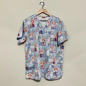 Strawberry Shortcake Scrub Top Short Sleeve Pockets Medical Workwear size Large