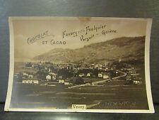 cpa photo suisse vevey vue generale pub chocolat favarger foulquier