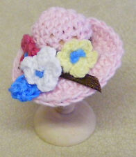 1:12 Scale Ladies Pink Crochet Hat Dolls House Miniature Clothing Accessory T7