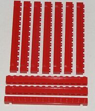LEGO LOT OF 10 RED MODIFIED BRICK 1 X 14 WITH GROOVE GARAGE DOOR PARTS
