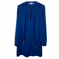 Diane Von Furstenberg Blue Silk Long Sleeve Belted Wrap Dress Women's Size 6