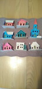 Vintage Small Cardboard Christmas Village Houses and Church for Train Display