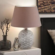 Schreib Tisch Textil Lese Lampe Leinen cappuccino weiß Stoff Nachttisch-Leuchte