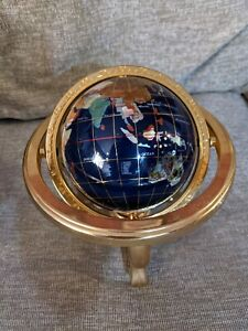 World Globe with Stand Compass  Pearl + Map in great condition