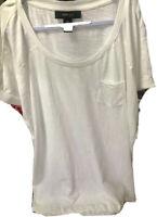 Style & Co Womens T-Shirt 0X White Cap Sleeve Scoop Neck Macys 100% Cotton NWT