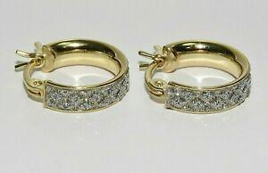 9CT GOLD ON SILVER DIAMOND CUT MOONDUST HOOP HUGGIE EARRINGS