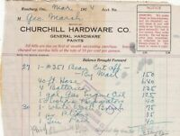 U.S. Churchill Hardware Co. Roseburg 1914 G. Hardware Paints Paid Invoice  41752