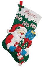 "BUCILLA FELT APPLIQUE CHRISTMAS STOCKING 16""  : SANTA'S GIFT : #86436"