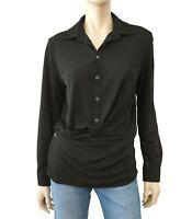 Cinq a Sept Womens Amanda Black Silk Embellished Top Blouse Shirt XXS BHFO 3369