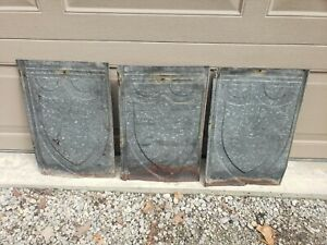 "LOT OF 3 VINTAGE ANTIQUE ROOFING TIN SHINGLES ~ SHIELD EMBOSSED 13"" X 20"" APPROX"