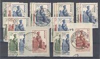 Saarland, 8 x Mi.Nr. 293-295, Freimarken 1950 gestempelt als Posten (H119)