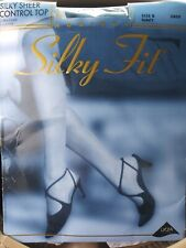 New Vintage 90s Silky Fit Hosiery NAVY BLUE Sheer Pantyhose Size B - Style 3800