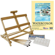 US Art Supply 21-Piece Watercolor Painting Set with Table Easel, 12 Colors