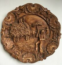 Vintage Wood Resin Carved Art Pastoral Labor Working Fields Wall Hanging