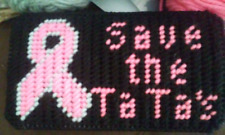 Handmade Breast Cancer Awareness Plastic Canvas Eyeglass Case