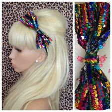 "NEW MULTICOLOUR RAINBOW SEQUIN SPARKLE 5"" SIDE BOW SATIN ALICE HAIR HEAD BAND"