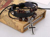 Bracelet Cuir Noir Avec Crucifix Croix Catholique Pour Homme Femme Garçon Fille