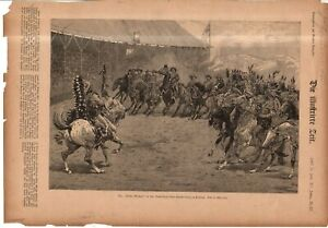 1887 Harpers Weekly July 9 original print - Buffalo Bill's Wild West Show