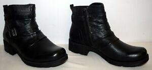 Earth Origins Randi Roland Leather/Fabric Ankle Boots Black Womens Size 6.5M EUC