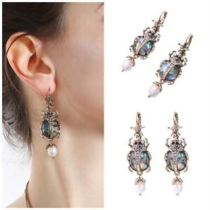 Art Deco Vintage Scarab Beetle Gold Drop Earrings Pearl Abalone Quality Gift UK
