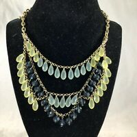 Vintage Lia Sophia Gold Tone Multicolor Glass Beads Tiered Statement Necklace