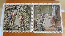 VTG New Italian Tapestry Romantic Scene Cotton for Pillow Front Set of 2