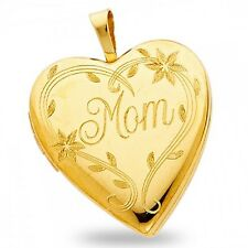 Solid 14k Yellow Gold Mom Heart Locket Pendant Engraved Charm Holds Pictures