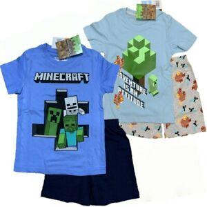 Boys Kids Minecraft Cotton Pyjamas Pjs T-Shirt Shorts Set Age 3-12 years  B