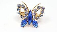 VINTAGE Juliana Butterfly Blue Rhinestone Gold tone Ring size 6 adj