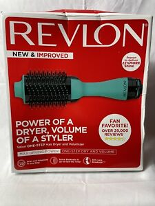 New Revlon Salon One-Step Hair Blow Dryer and Volumizer~Teal~Hot Air Brush