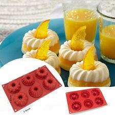 6-Cavity Silicone Mini Food Bundt Mold Baking Pan Kouglof Cake Cookie Bakeware