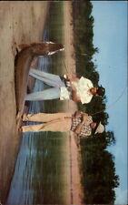 Men Catch Huge Garfish White River in Arkansas AR Fishing Postcard