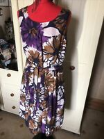 LAURA ASHLEY Ladies Brown Purple Ivory Floral Silk Sleveeless Dress Size 14
