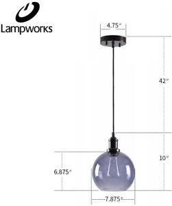 "LAMPWORKS Pendant Light Dia 7-7/8"" Industrial Clear Smoke Gray Glass Globe Lamp"