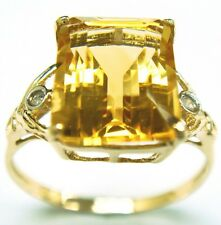 SYJEWELLERY 9CT YELLOW GOLD NATURAL CITRINE & DIAMOND RING   SIZE N R1027