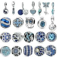 Genuine 925 Sterling Silver Sparkle & Color BLUE Charms for Charm Bracelet NEW