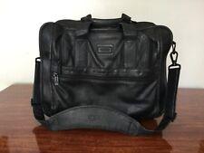 TUMI Black Leather Expandable Organizer Laptop Computer Carrier Bag w/ Strap