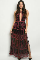 Misses Small Black Maxi Dress Burgundy Embroidered Accent Keyhole Neck MSRP $128